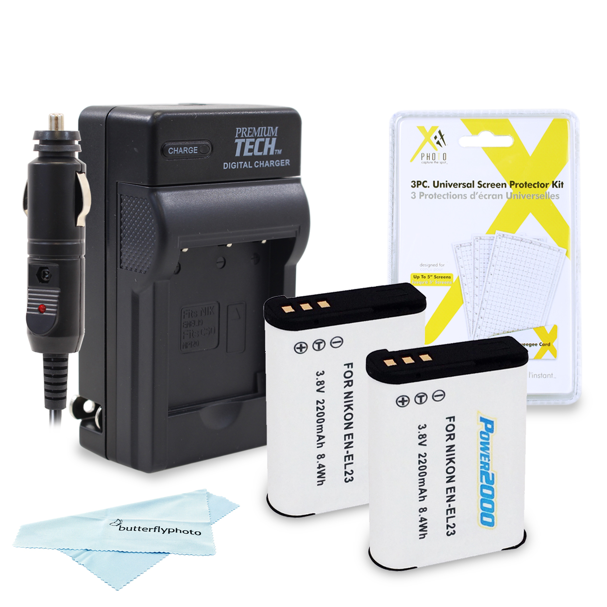 VIDPRO KIT - (QTY.2) EN-EL23 (ACD-423) + PT-88 CHARGER + CLOTH + SCREEN PROTECTORS